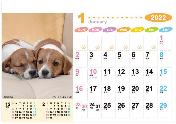 卓上カレンダー「ラブリーフレンズ(犬・猫)」・表面